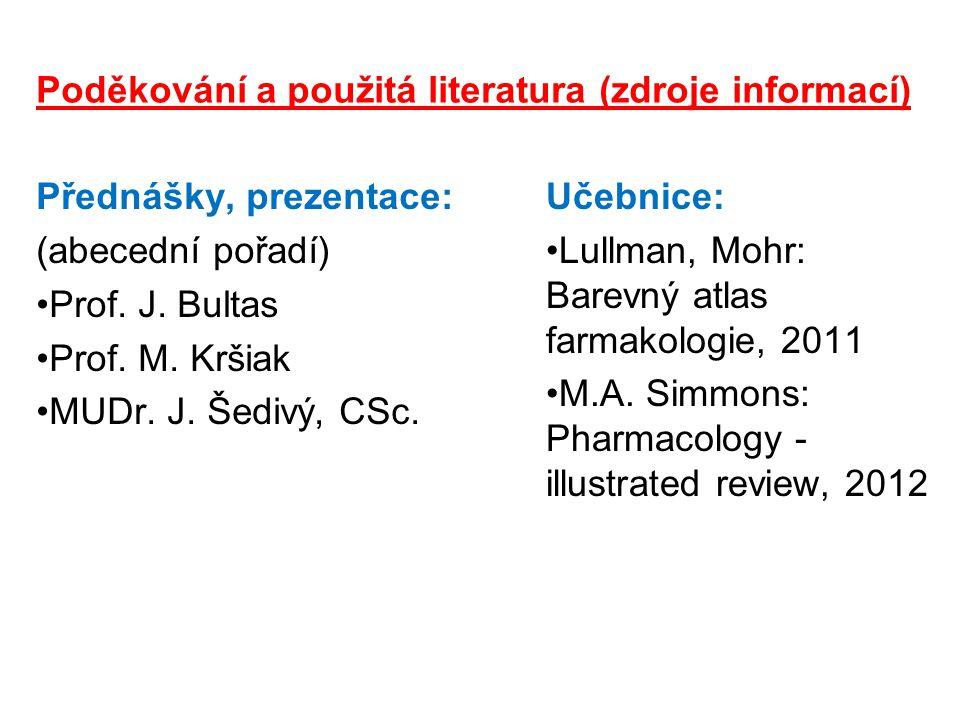 Poděkování a použitá literatura (zdroje informací)