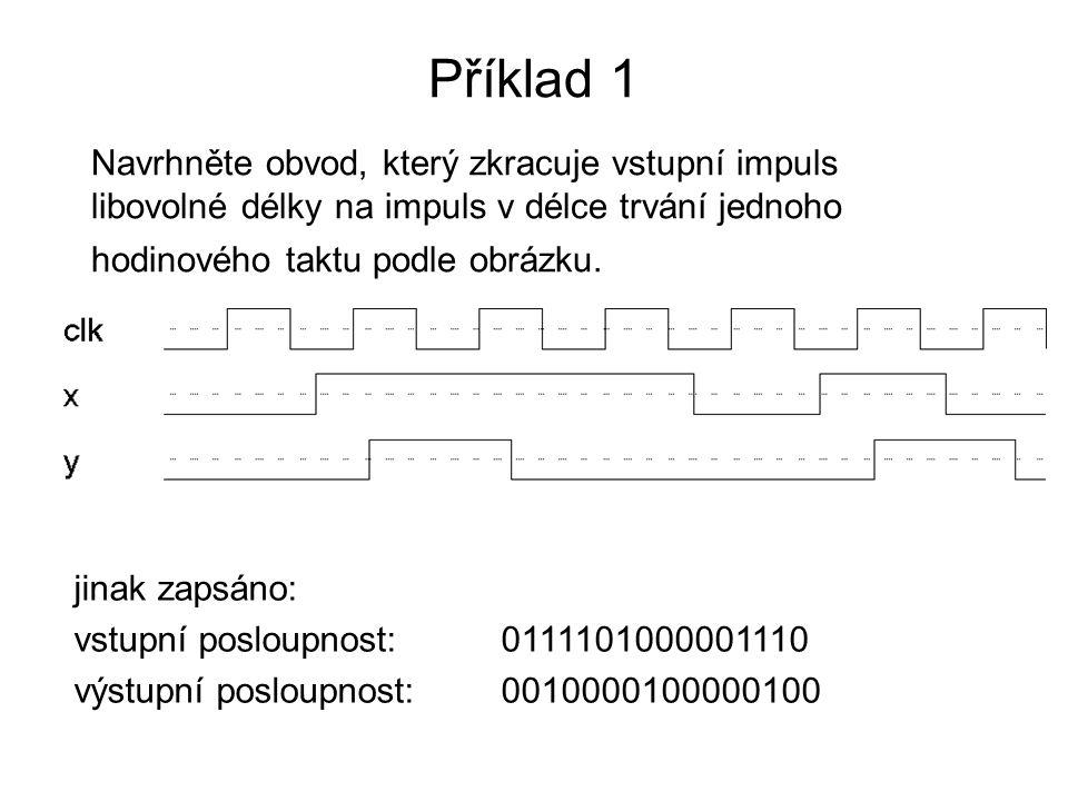 Příklad 1 Navrhněte obvod, který zkracuje vstupní impuls libovolné délky na impuls v délce trvání jednoho hodinového taktu podle obrázku.