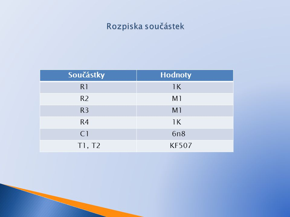 Rozpiska součástek Součástky Hodnoty R1 1K R2 M1 R3 R4 C1 6n8 T1, T2