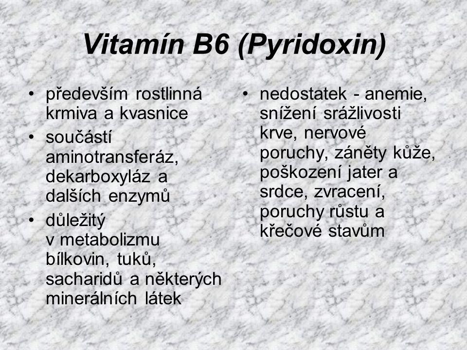 Vitamín B6 (Pyridoxin) především rostlinná krmiva a kvasnice