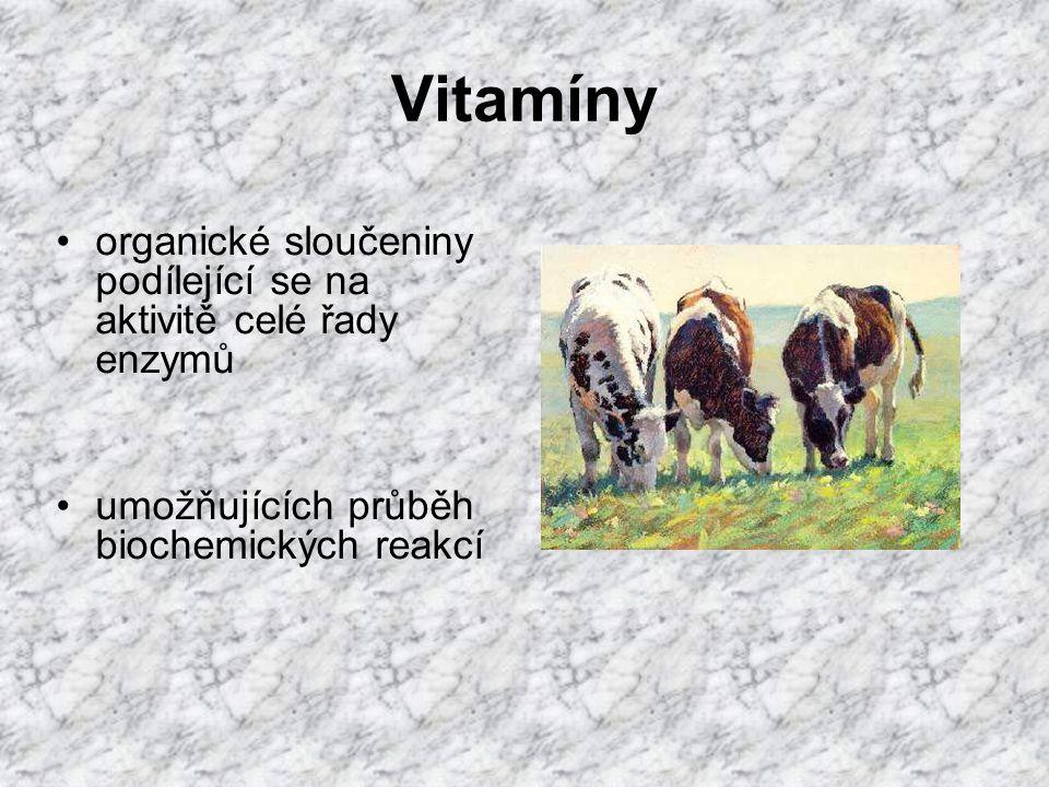 Vitamíny organické sloučeniny podílející se na aktivitě celé řady enzymů.
