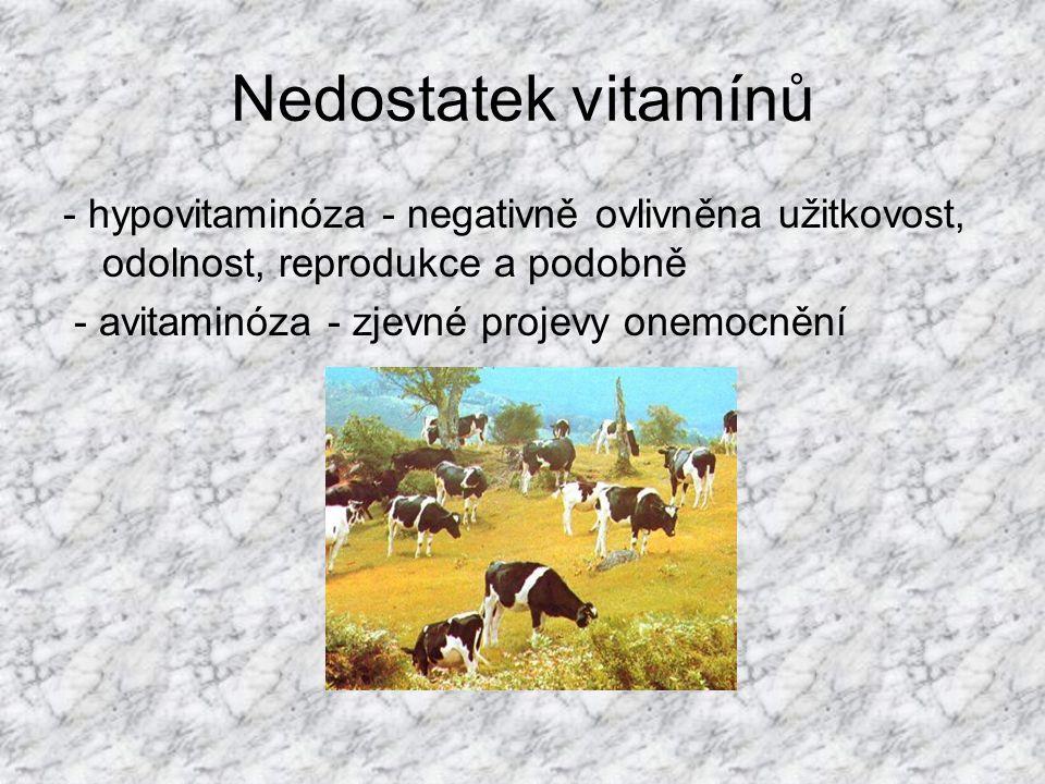 Nedostatek vitamínů - hypovitaminóza - negativně ovlivněna užitkovost, odolnost, reprodukce a podobně.