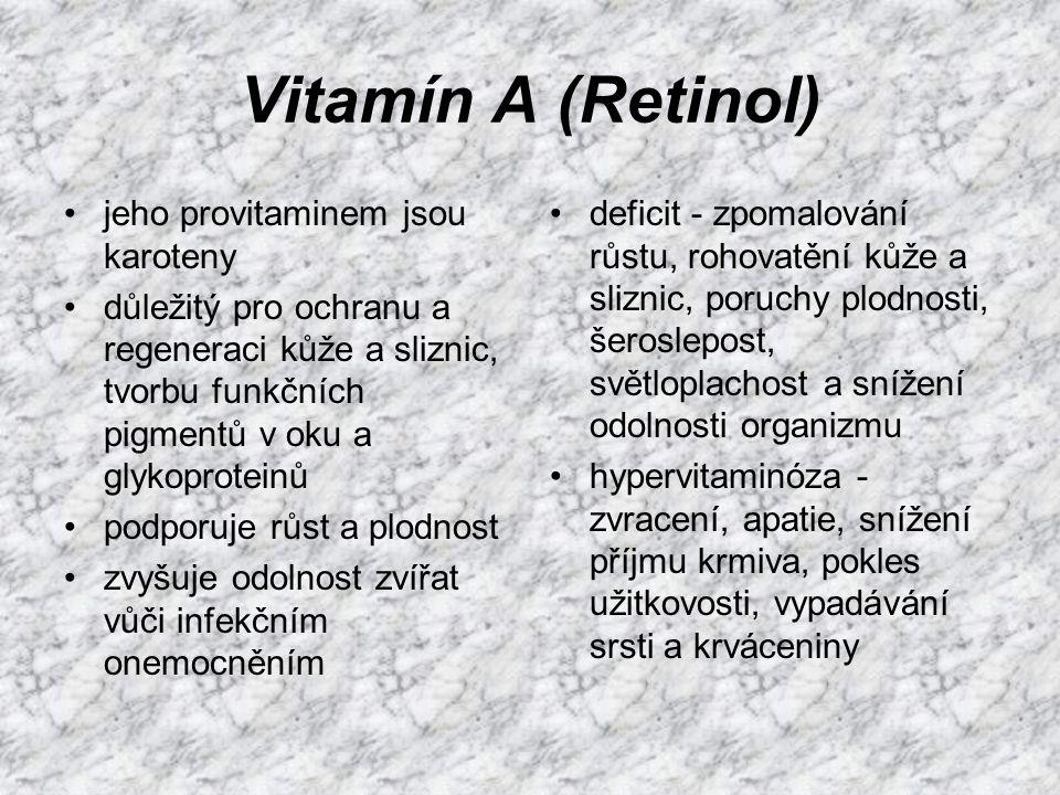 Vitamín A (Retinol) jeho provitaminem jsou karoteny
