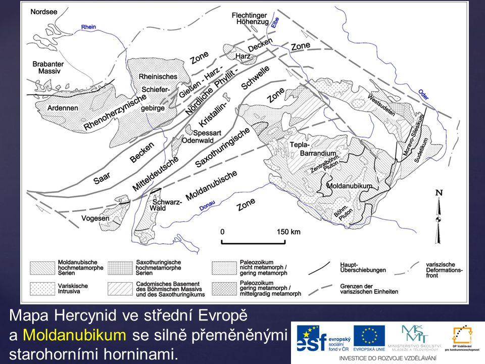 Mapa Hercynid ve střední Evropě a Moldanubikum se silně přeměněnými starohorními horninami.