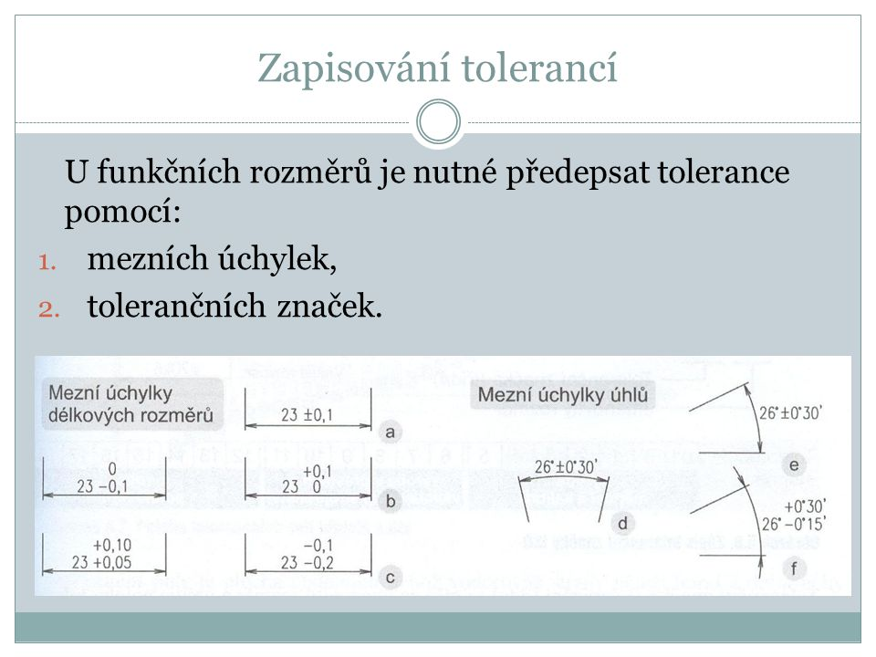 Zapisování tolerancí U funkčních rozměrů je nutné předepsat tolerance pomocí: mezních úchylek, tolerančních značek.