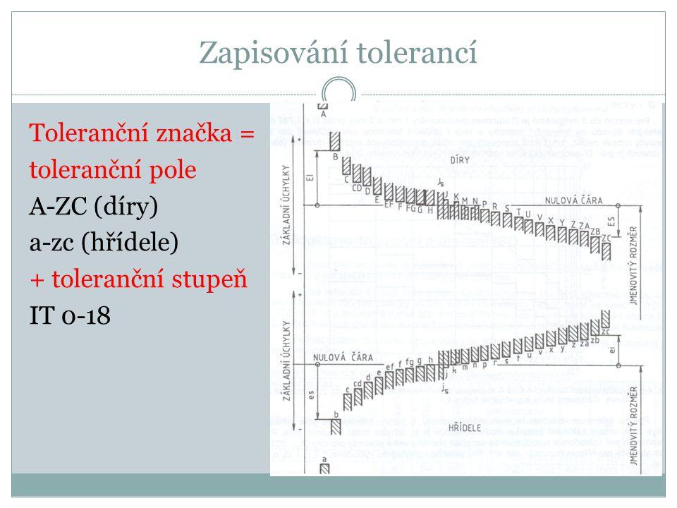 Zapisování tolerancí Toleranční značka = toleranční pole A-ZC (díry) a-zc (hřídele) + toleranční stupeň IT 0-18