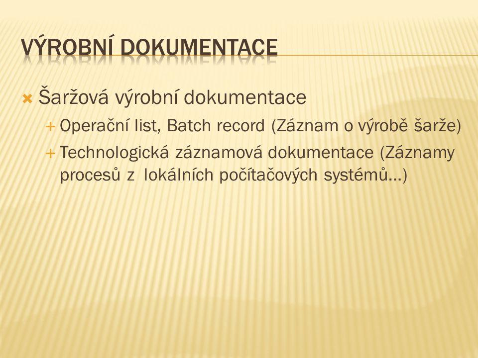 Výrobní dokumentace Šaržová výrobní dokumentace