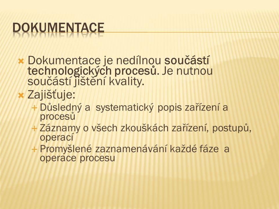 Dokumentace Dokumentace je nedílnou součástí technologických procesů. Je nutnou součástí jištění kvality.