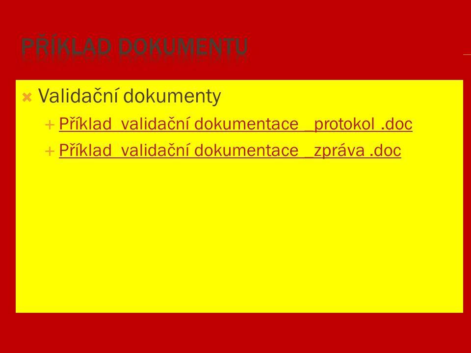 Příklad dokumentu Validační dokumenty