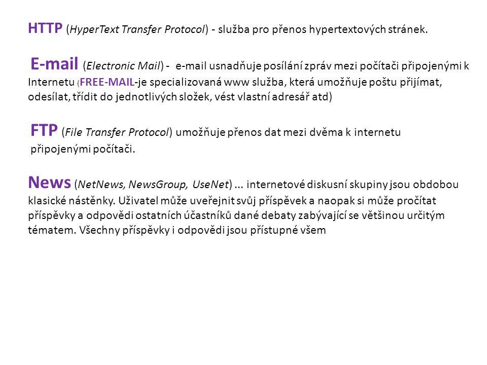 HTTP (HyperText Transfer Protocol) - služba pro přenos hypertextových stránek.