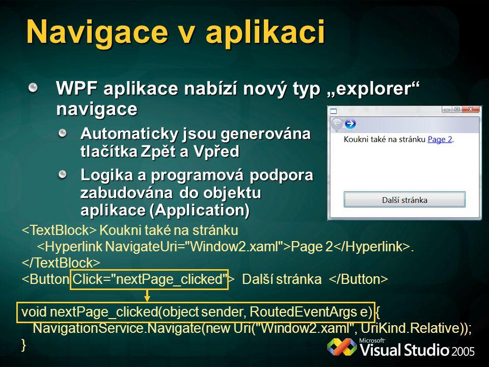 """Navigace v aplikaci WPF aplikace nabízí nový typ """"explorer navigace"""