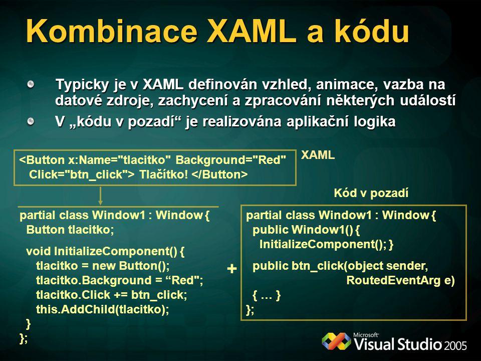 Kombinace XAML a kódu Typicky je v XAML definován vzhled, animace, vazba na datové zdroje, zachycení a zpracování některých událostí.