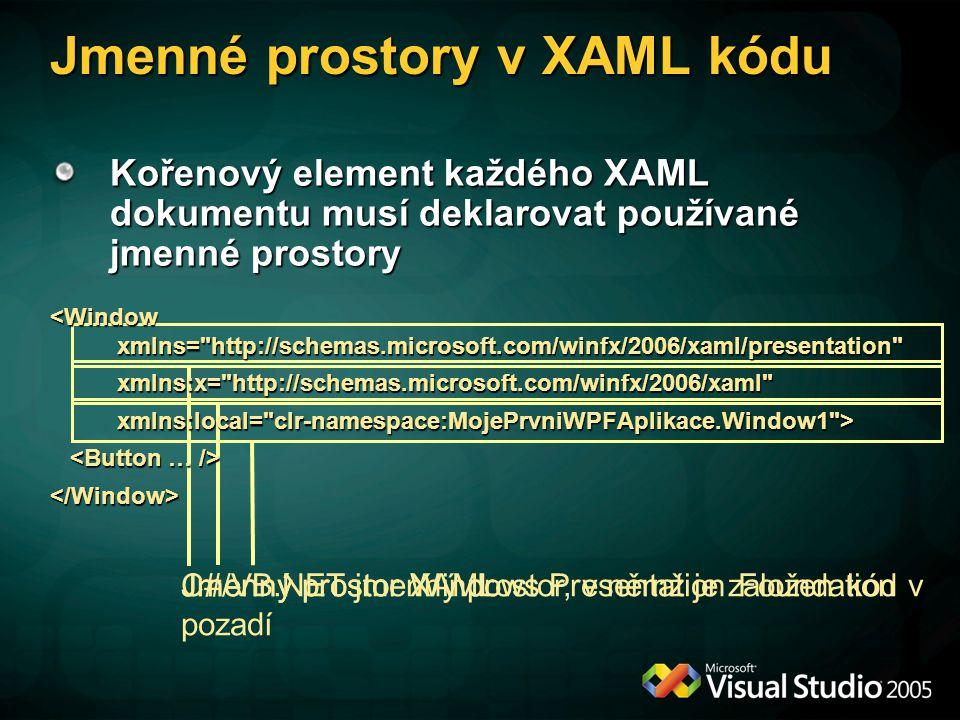 Jmenné prostory v XAML kódu
