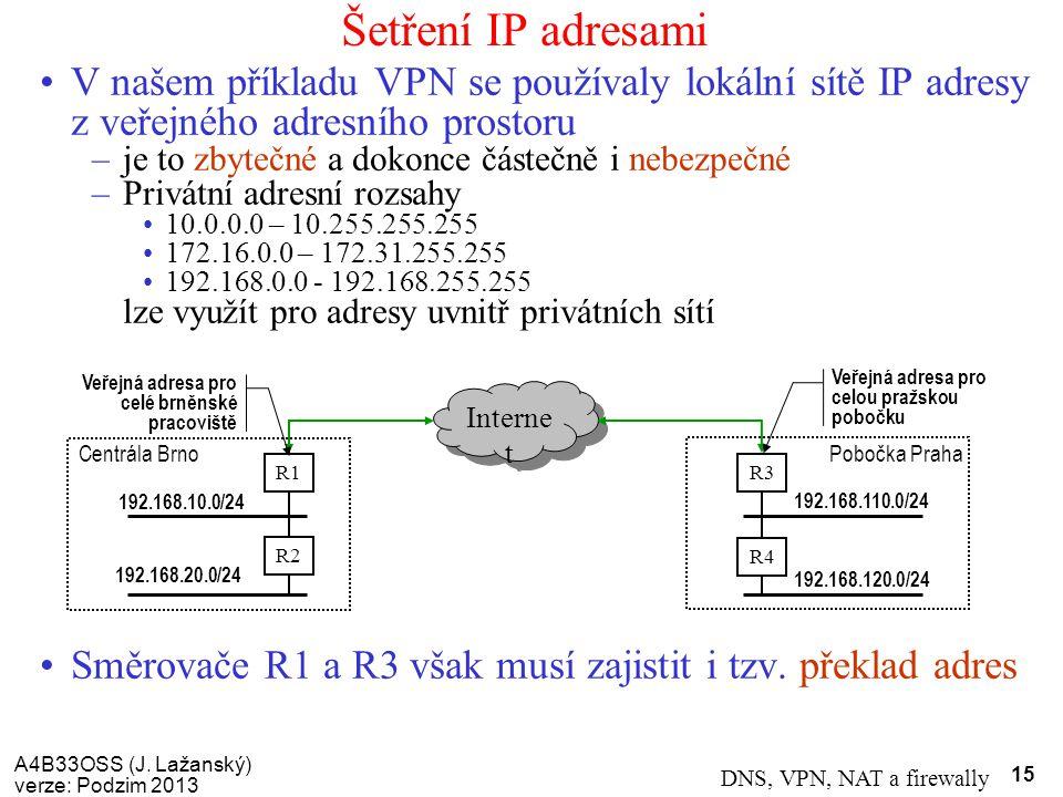 Šetření IP adresami V našem příkladu VPN se používaly lokální sítě IP adresy z veřejného adresního prostoru.