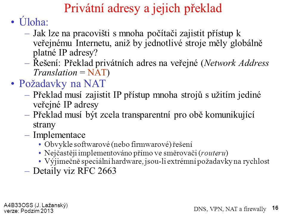 Privátní adresy a jejich překlad