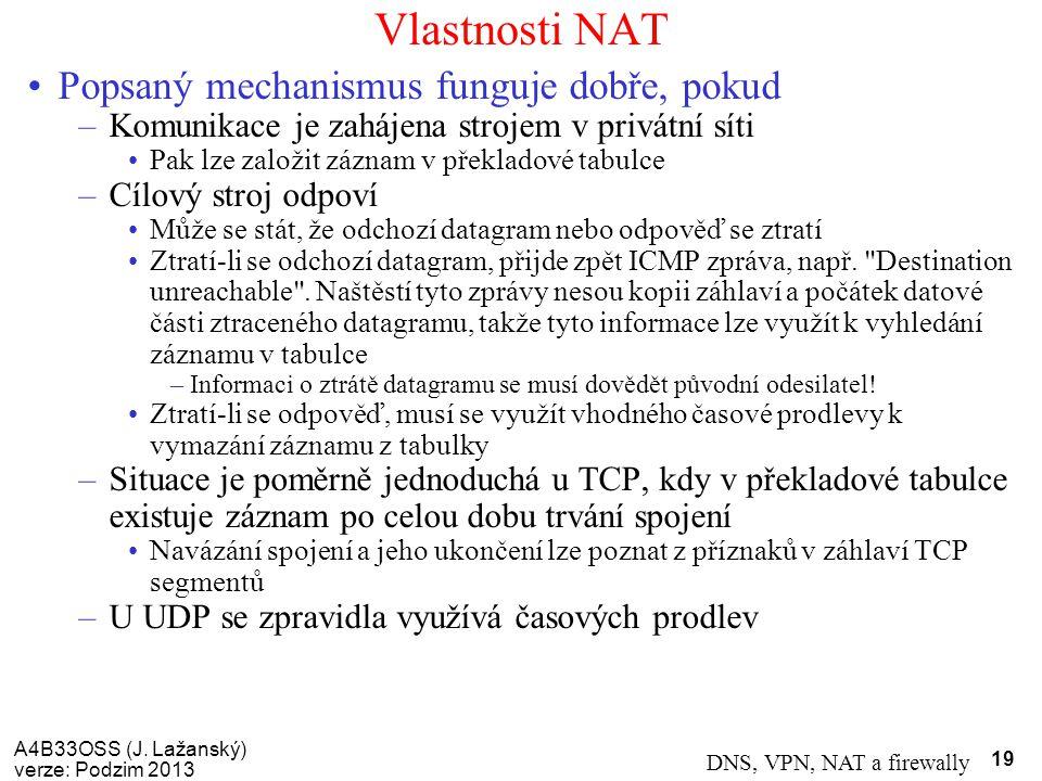 Vlastnosti NAT Popsaný mechanismus funguje dobře, pokud