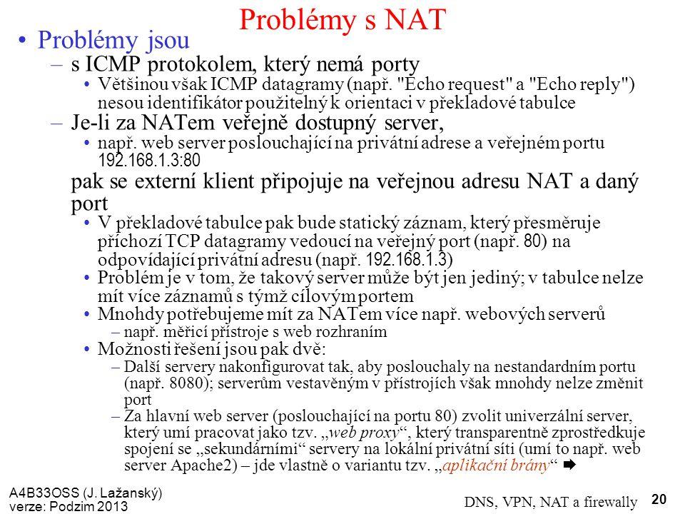 Problémy s NAT Problémy jsou s ICMP protokolem, který nemá porty
