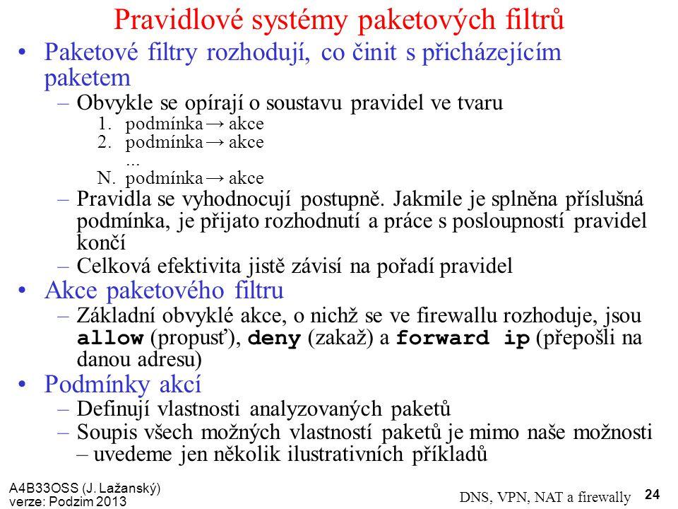 Pravidlové systémy paketových filtrů