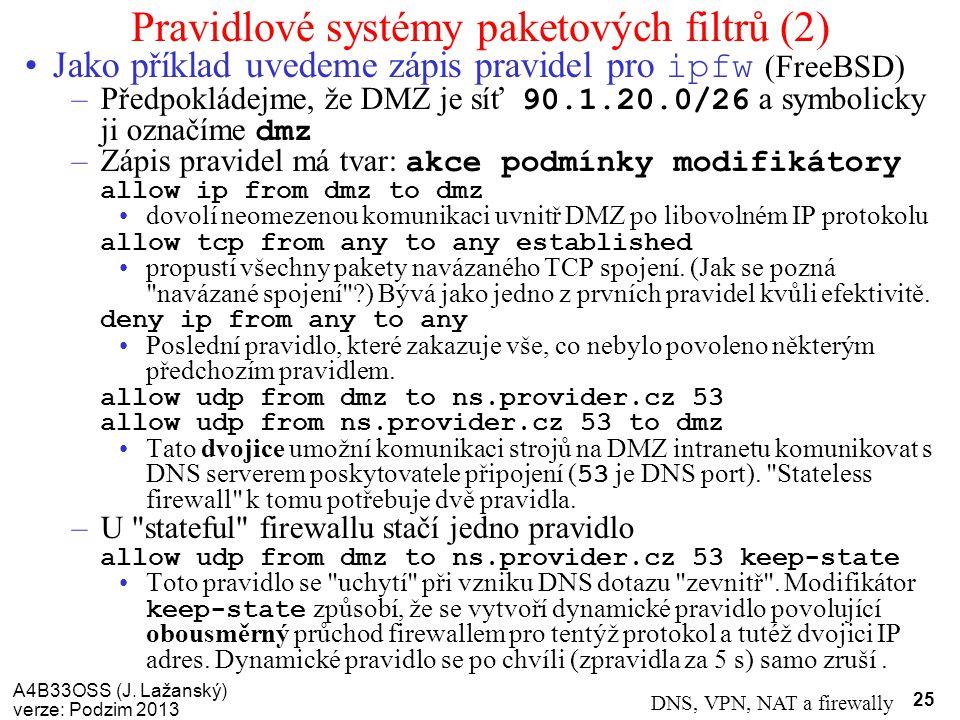 Pravidlové systémy paketových filtrů (2)