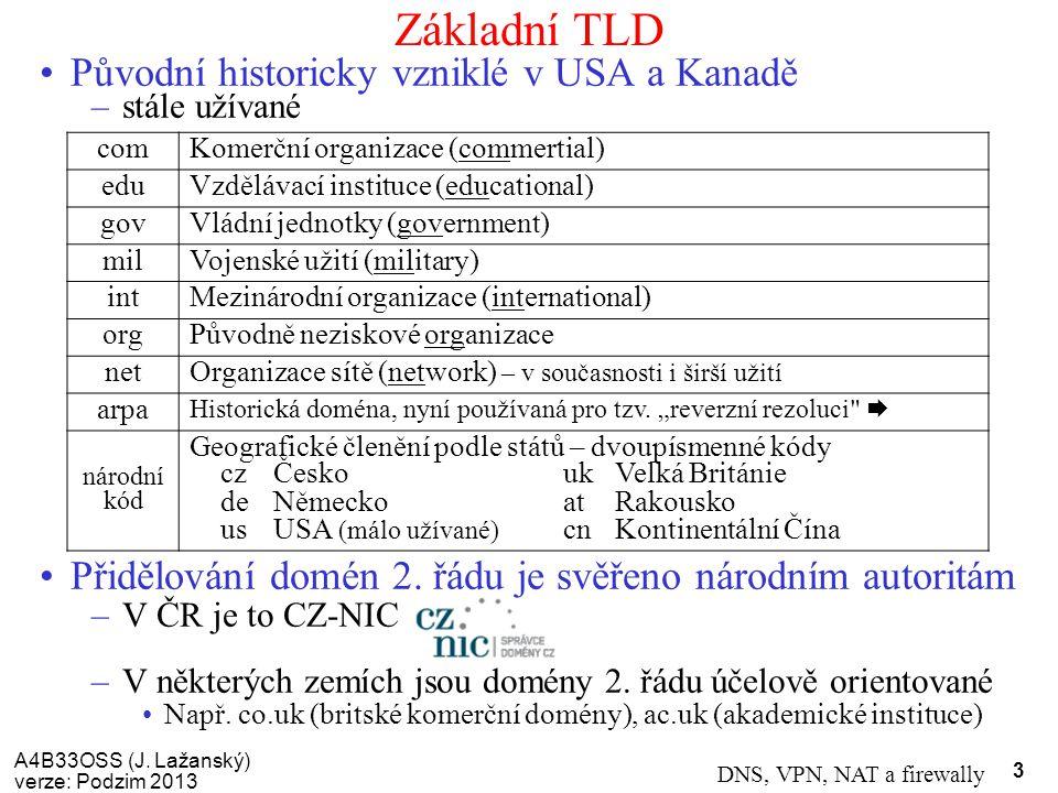 Základní TLD Původní historicky vzniklé v USA a Kanadě