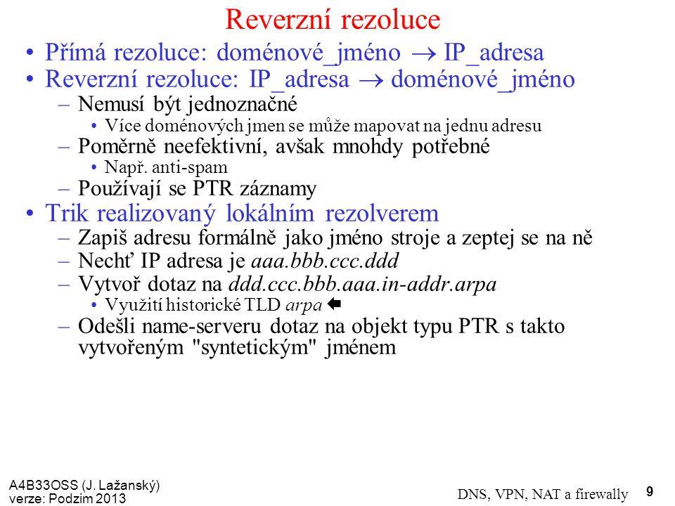 Reverzní rezoluce Přímá rezoluce: doménové_jméno  IP_adresa