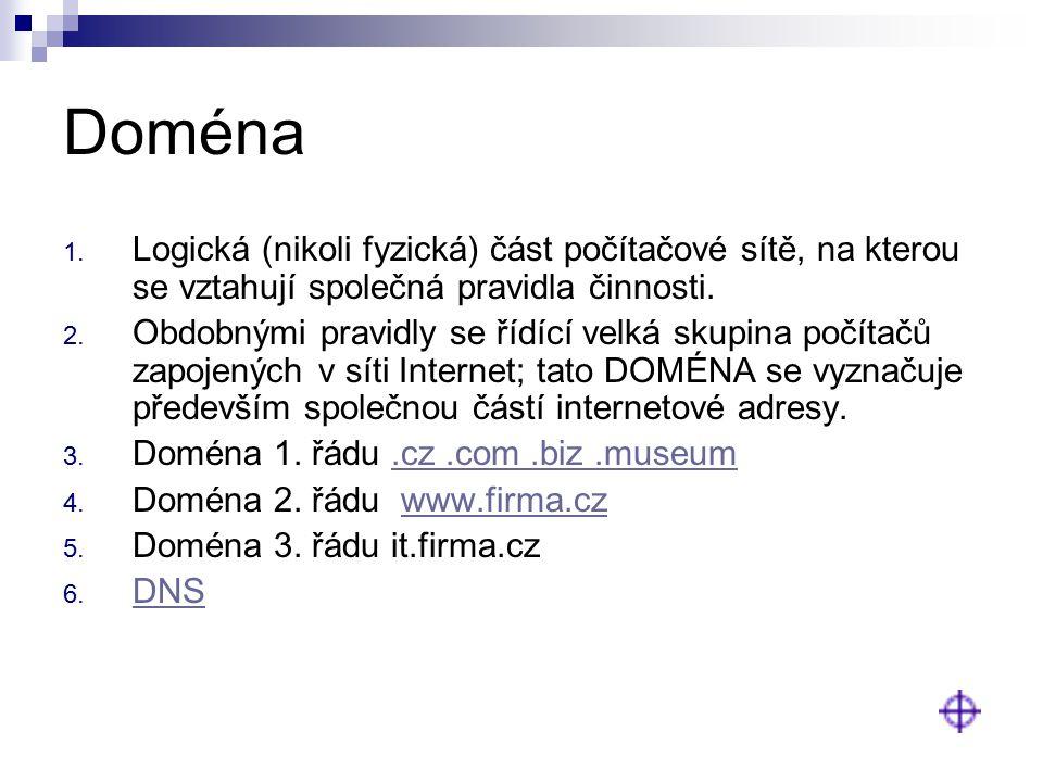 Doména Logická (nikoli fyzická) část počítačové sítě, na kterou se vztahují společná pravidla činnosti.