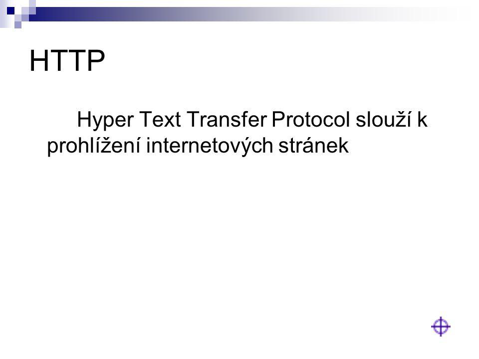 HTTP Hyper Text Transfer Protocol slouží k prohlížení internetových stránek