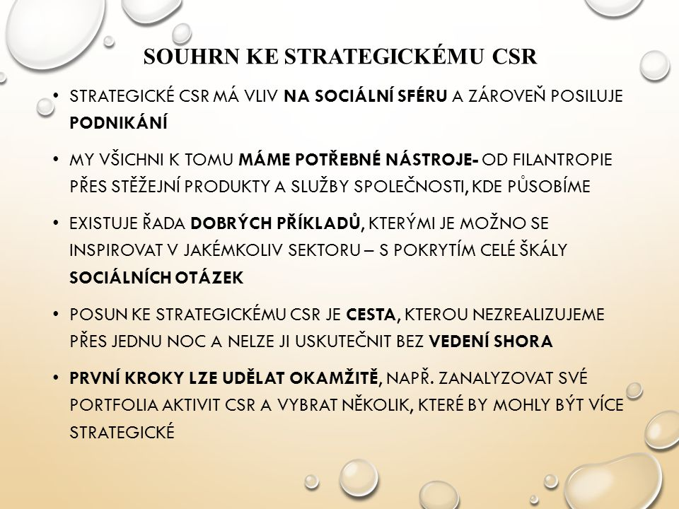 Souhrn ke strategickému CSR