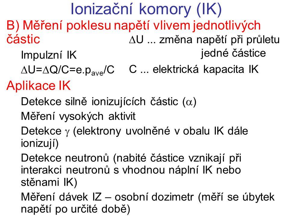 Ionizační komory (IK) B) Měření poklesu napětí vlivem jednotlivých částic. Impulzní IK. U=Q/C=e.pave/C.