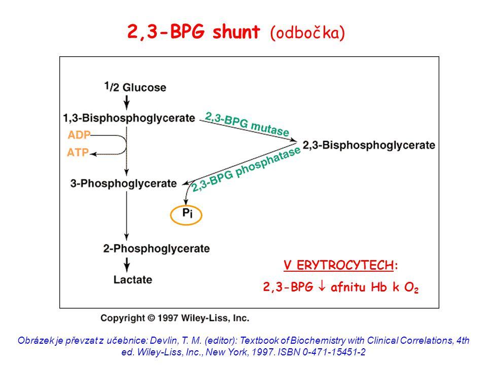 2,3-BPG shunt (odbočka) V ERYTROCYTECH: 2,3-BPG  afnitu Hb k O2