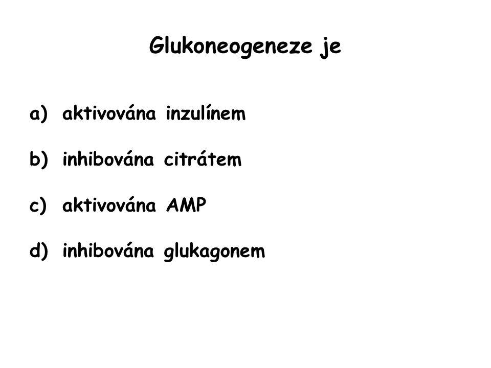 Glukoneogeneze je aktivována inzulínem inhibována citrátem