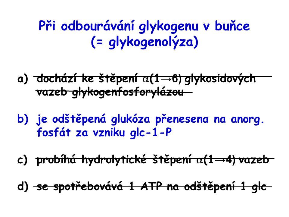 Při odbourávání glykogenu v buňce (= glykogenolýza)