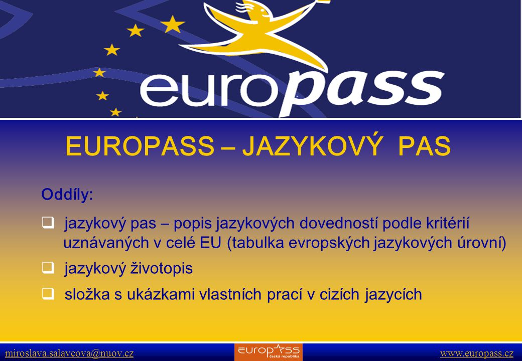 EUROPASS – JAZYKOVÝ PAS