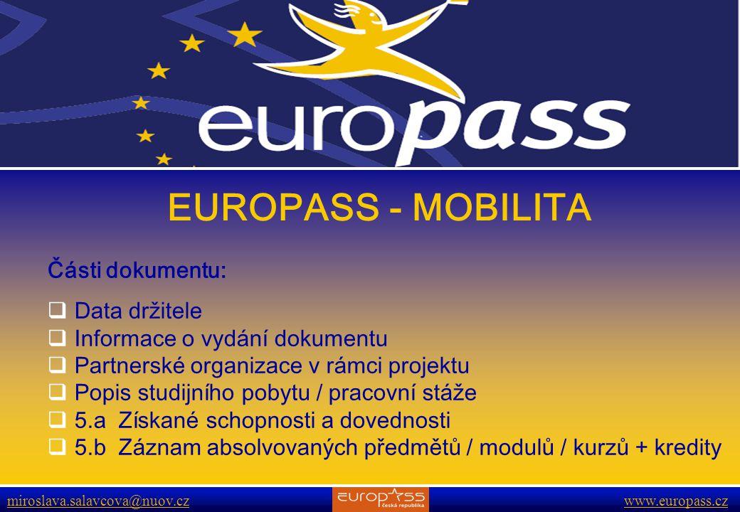 EUROPASS - MOBILITA Části dokumentu: Data držitele
