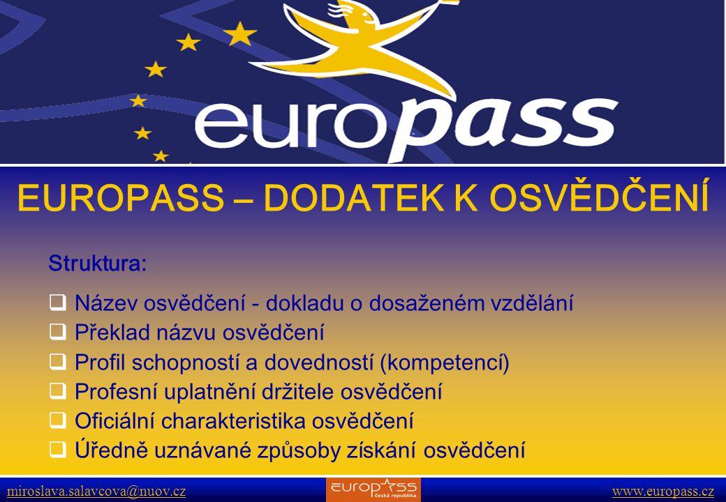 EUROPASS – DODATEK K OSVĚDČENÍ