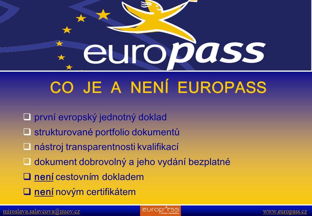 CO JE A NENÍ EUROPASS první evropský jednotný doklad