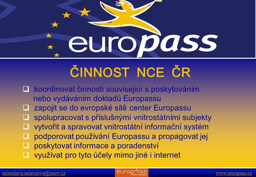 ČINNOST NCE ČR koordinovat činnosti související s poskytováním