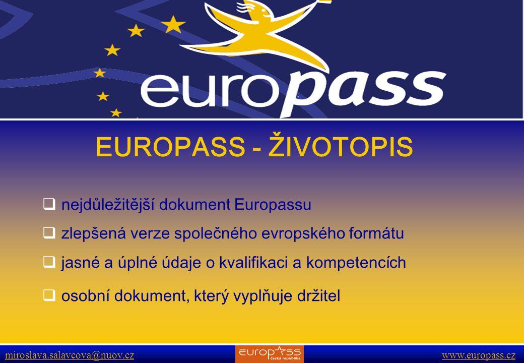 EUROPASS - ŽIVOTOPIS nejdůležitější dokument Europassu