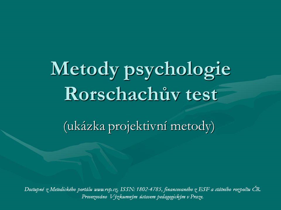 Metody psychologie Rorschachův test