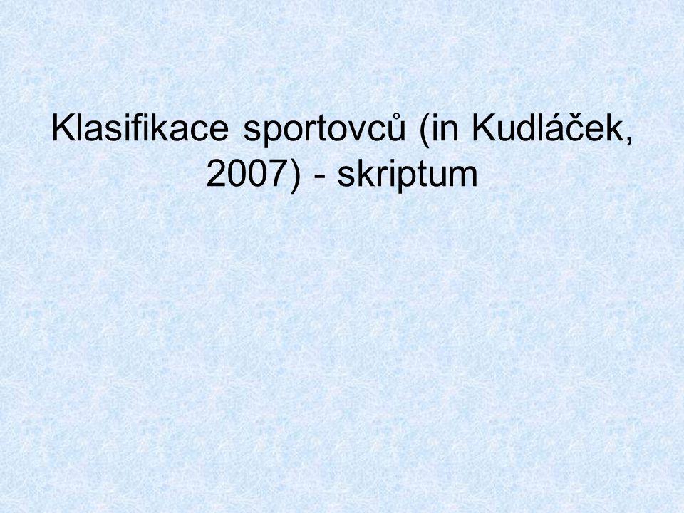 Klasifikace sportovců (in Kudláček, 2007) - skriptum