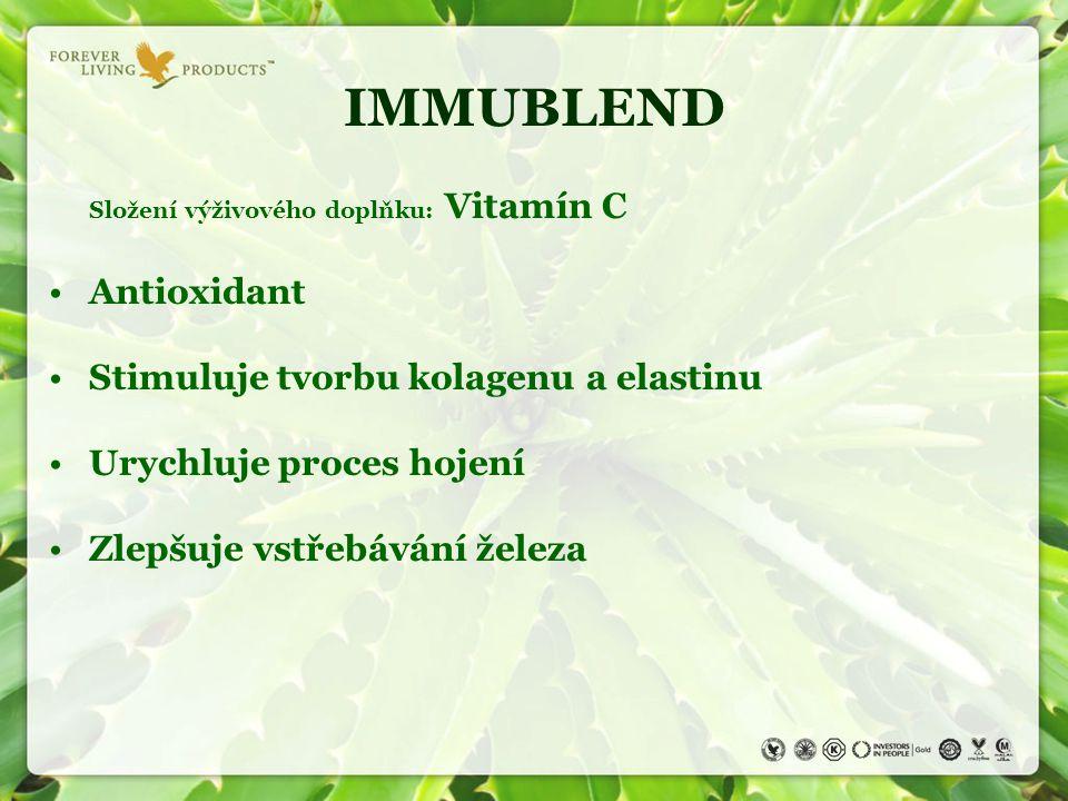 IMMUBLEND Antioxidant Stimuluje tvorbu kolagenu a elastinu
