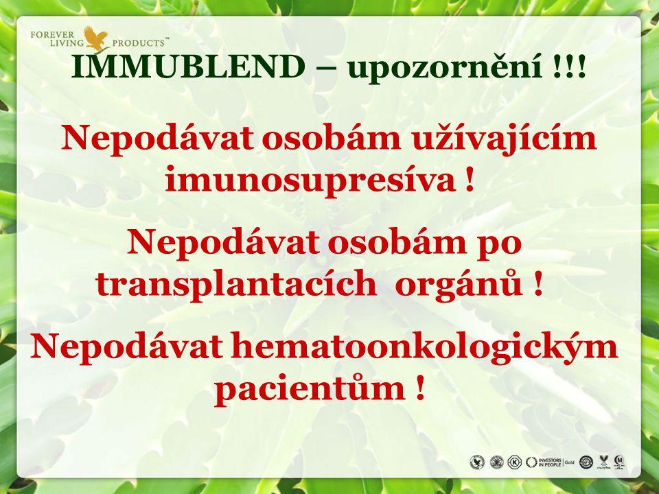IMMUBLEND – upozornění !!!