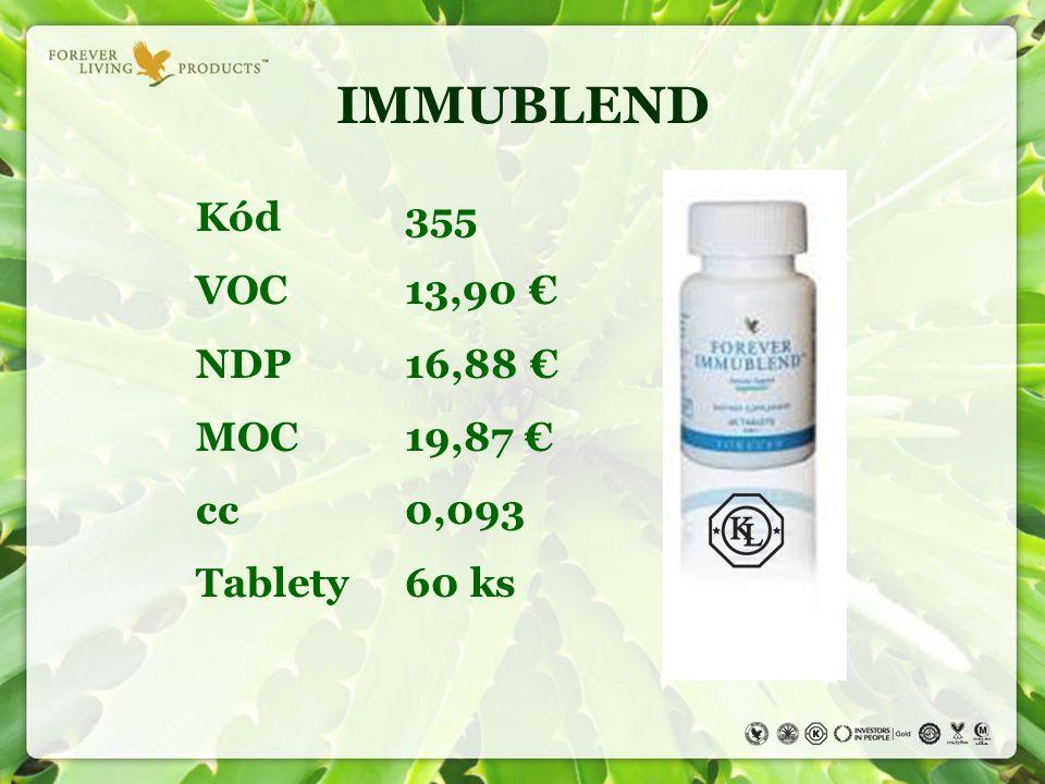 IMMUBLEND Kód 355 VOC 13,90 € NDP 16,88 € MOC 19,87 € cc 0,093