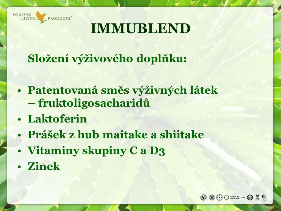 IMMUBLEND Složení výživového doplňku: