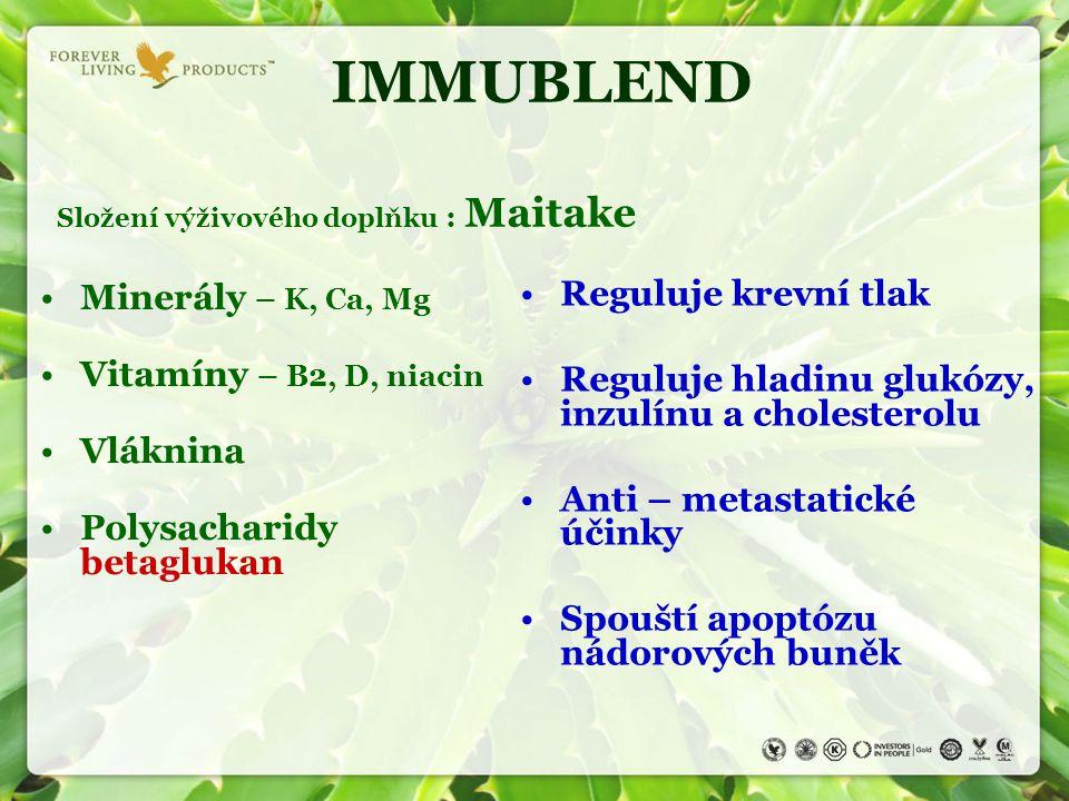 IMMUBLEND Složení výživového doplňku : Maitake