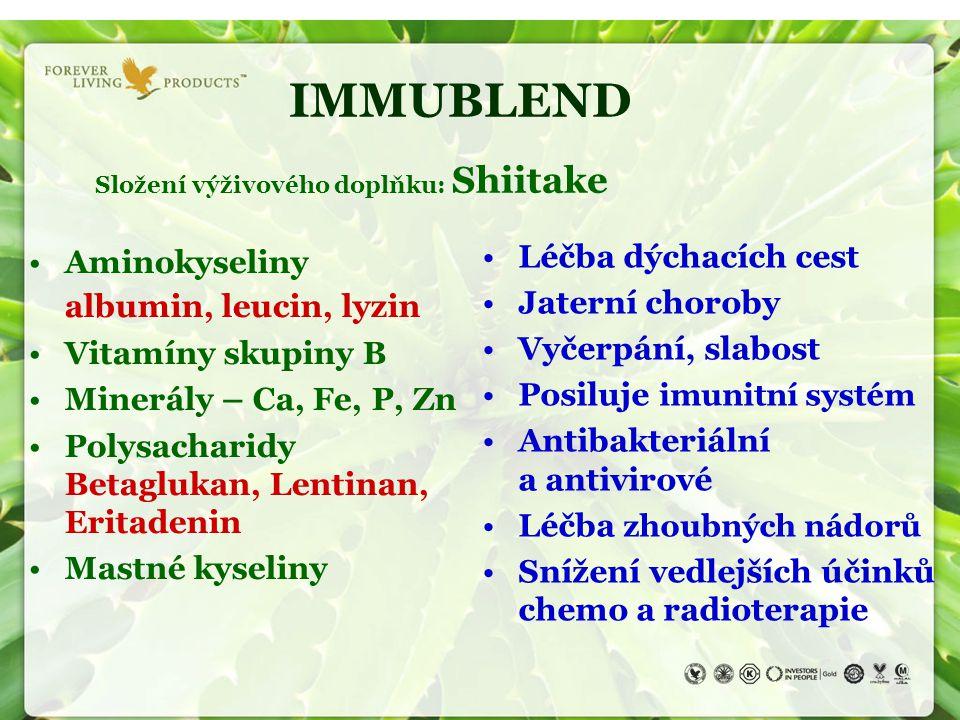 IMMUBLEND Složení výživového doplňku: Shiitake