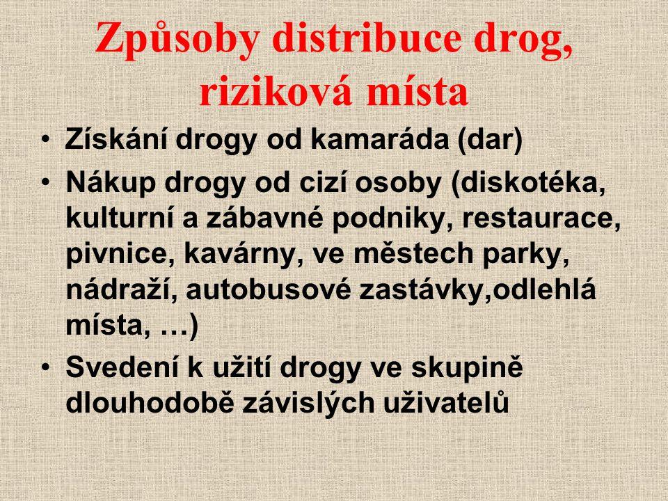 Způsoby distribuce drog, riziková místa
