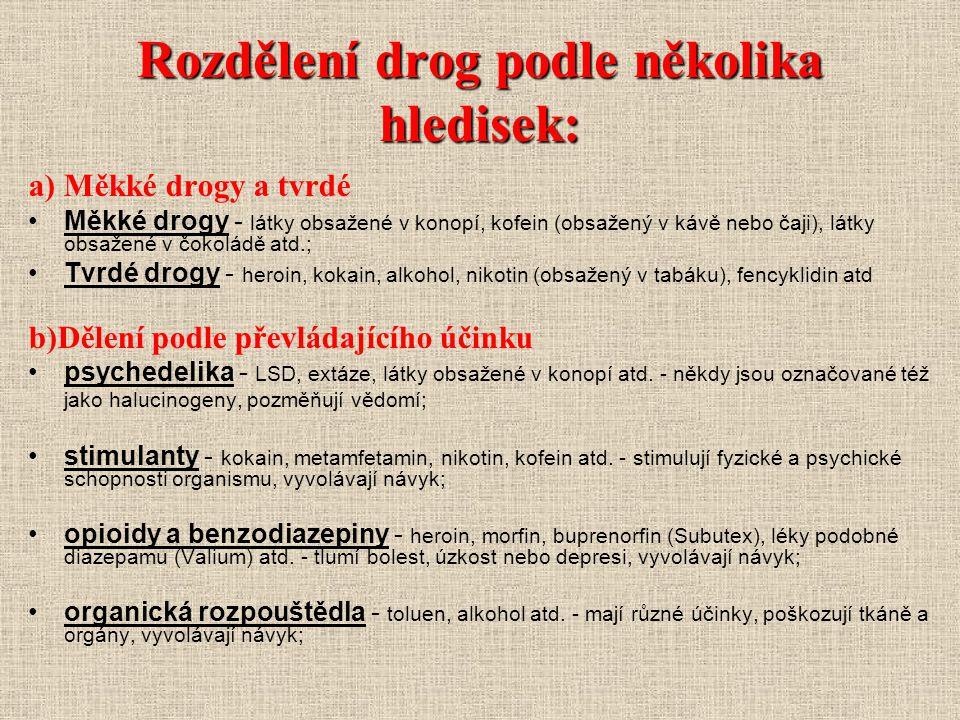 Rozdělení drog podle několika hledisek: