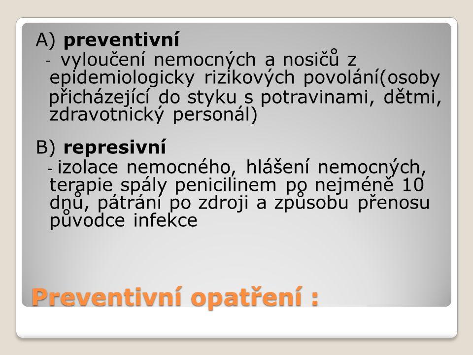 Preventivní opatření :