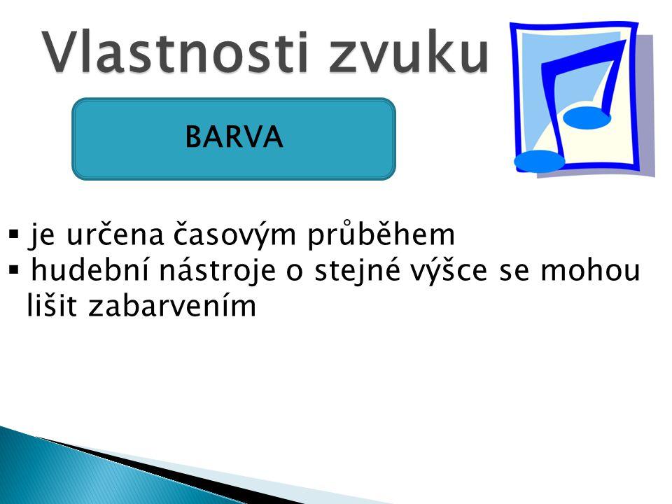 Vlastnosti zvuku BARVA je určena časovým průběhem